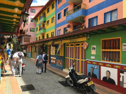 Street with souvenir shops in Guatapé, Antioquia, Colombia