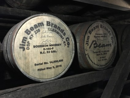Barrels #13 and #14 million at Jim Beam American Stillhouse in Clermont, Kentucky