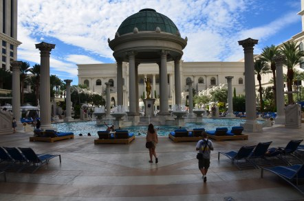 The pool area at Caesar's Palace in Las Vegas, Nevada