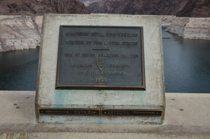 Plaque showing the Nevada - Arizona border at Hoover Dam in Nevada