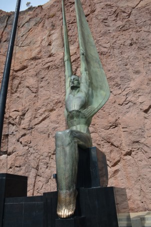 One of the winged figures on the Winged Figures of the Republic monument at Hoover Dam in Nevada