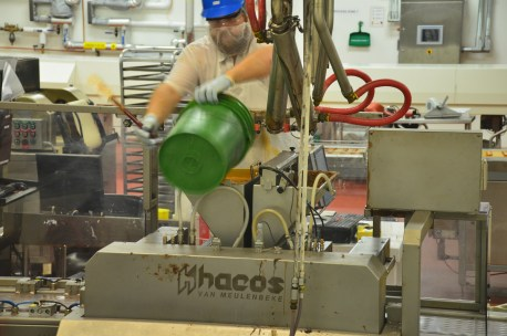 A worker on the Ethel M Chocolate Factory tour in Henderson, Nevada