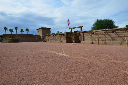 Gates of the fort at Old Las Vegas Mormon Fort State Historic Park in Nevada
