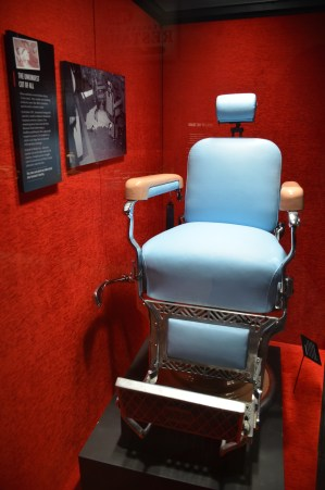 Barber chair where Albert Anastasia was murdered at the Mob Museum in Las Vegas, Nevada