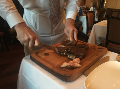 The server carving our steak at Carnevino in Las Vegas, Nevada