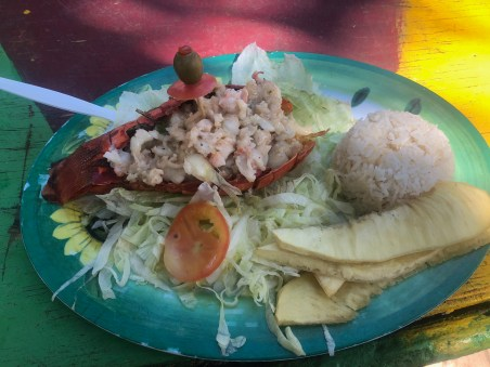 Lobster at Bibi's Place on Haynes Cay in San Andrés, Colombia