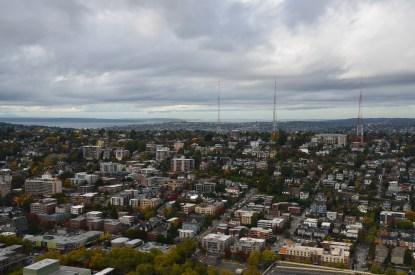 Looking at the city from the Space Needle in Seattle, Washington