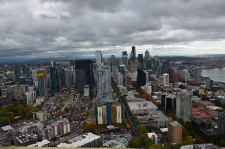 Seattle skyline from the Space Needle in Seattle, Washington