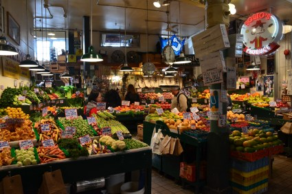 Fruit and vegetable stand at Pike Place Market in Seattle, Washington