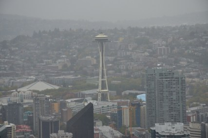 Space Needle from Columbia Center in Seattle, Washington
