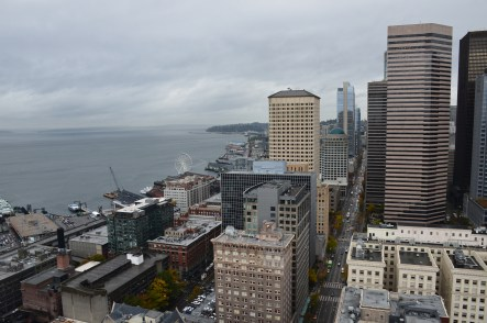 Looking at downtown Seattle from the Smith Tower in Seattle, Washington