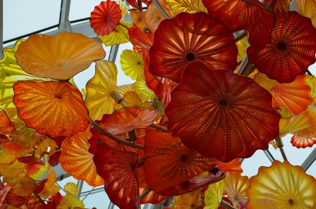 Closeup of the artwork in the Glasshouse at Chihuly Garden and Glass in Seattle, Washington
