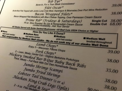 Menu at Five O'Clock Steakhouse in Milwaukee, Wisconsin