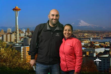 Souvenir photo from the Space Needle in Seattle, Washington