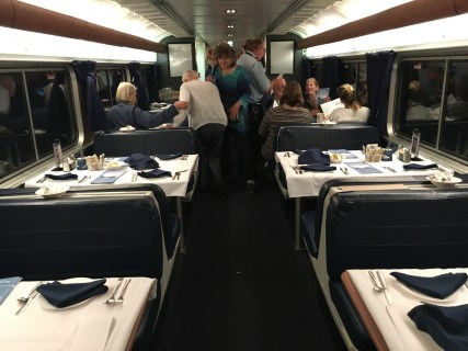 Dining car on the Amtrak Empire Builder from Seattle to Chicago