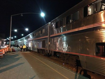 Stepping outside in Minot, ND on the Amtrak Empire Builder from Seattle to Chicago