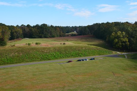 View from the Great Temple Mound at Ocmulgee National Monument in Macon, Georgia