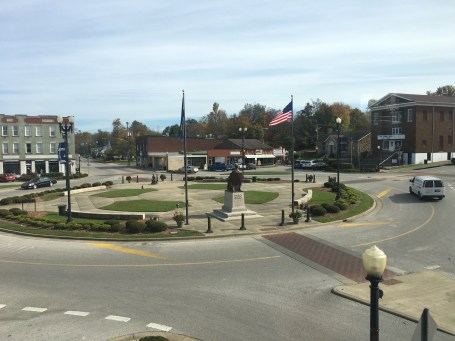 View of Lincoln Square Circle from the Lincoln Museum in Hodgenville, Kentucky