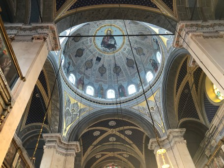 Looking up at the dome of Agia Triada Greek Orthodox Church in Istanbul, Turkey