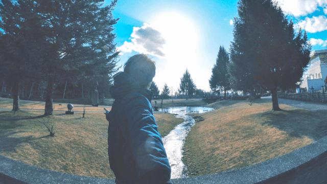 公園を見ている男性