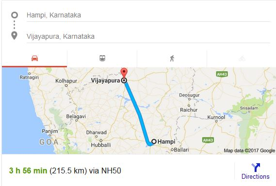 Route - Hampi to Bijapur