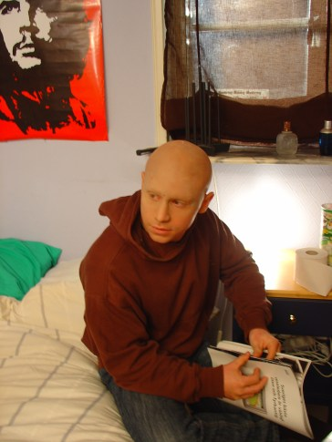 """The """"hairless"""" effect was created using a Bald cap and airbrush makeup."""