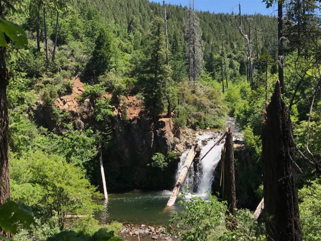 jumping into water at Hatchet Falls
