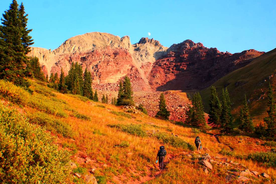 Ascending Buckskin Pass, Backpacking the Maroon Bells Four Pass Loop