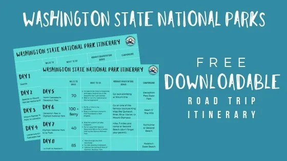 Washington State National Park Itinerary Worksheets