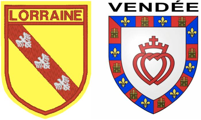 Les écussons ou blason de la Lorraine et de la Vendée