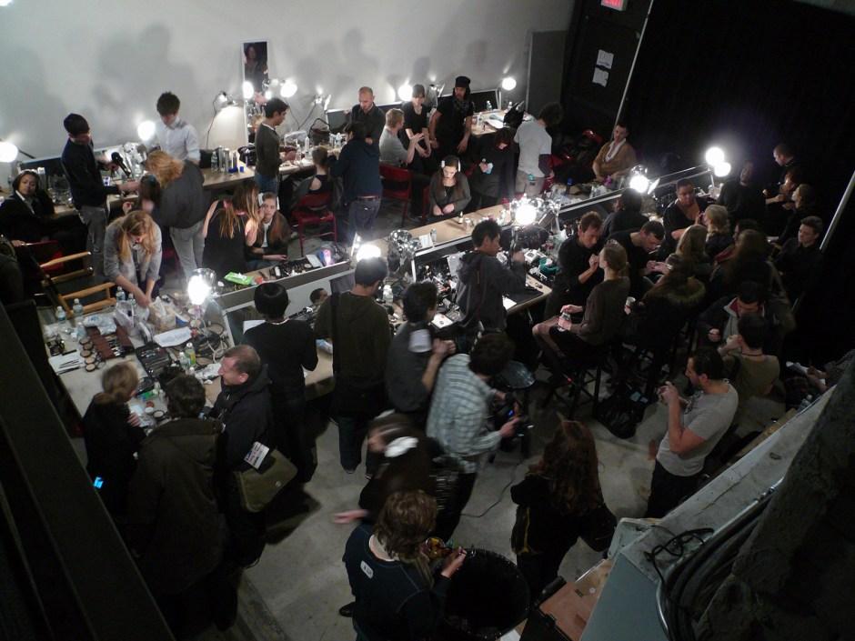 Philosophy fashion show backstage