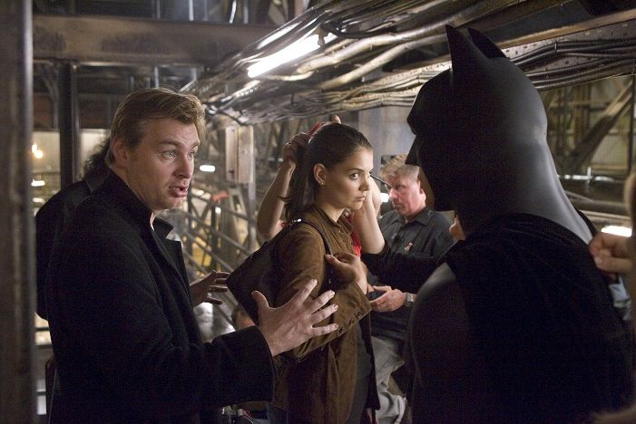 Christopher Nolan and Katie Holmes and Christian Bale on Batman Begins set