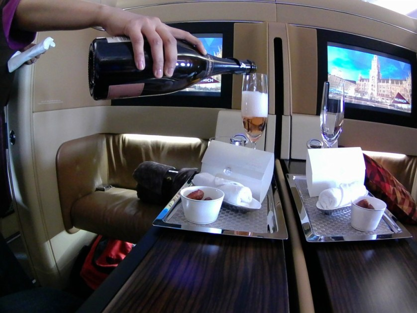 Etihad First Class Dates and Champagne