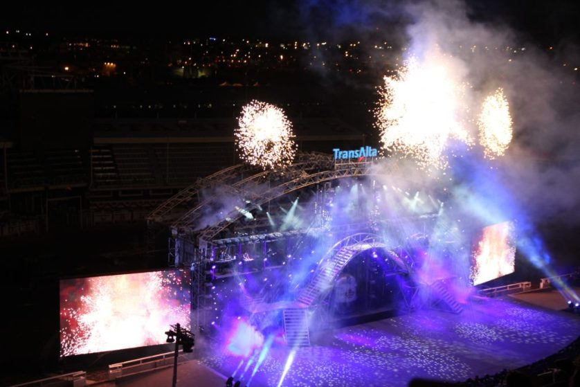 Calgary Stampede nighttime show with fireworks