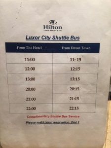 Hilton Luxor Shuttle Schedule