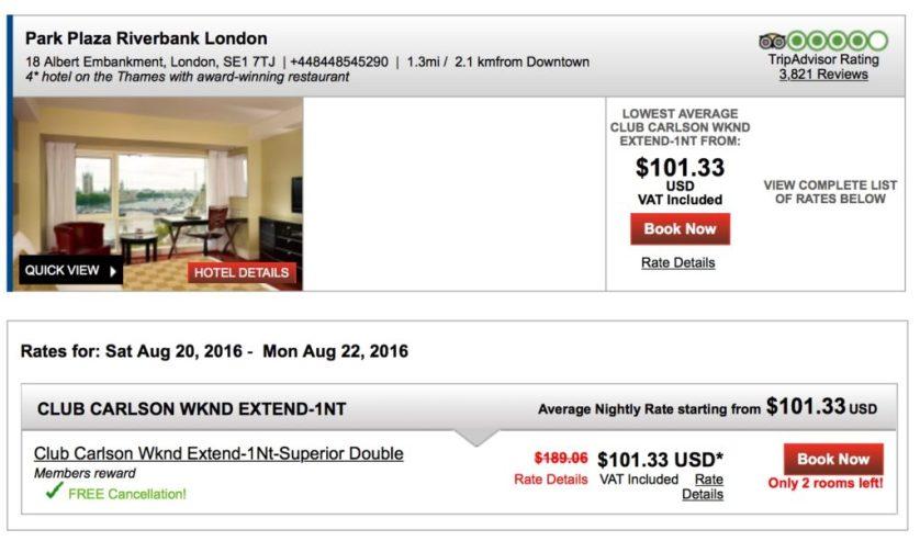 Park Plaza Riverbank $100 a night
