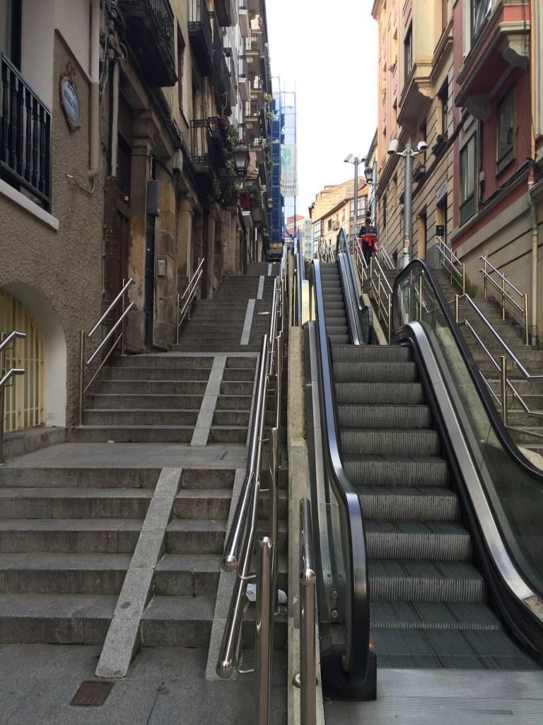 Modern Escalators in the City of Bilbao