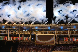 Fireworks around the stadium