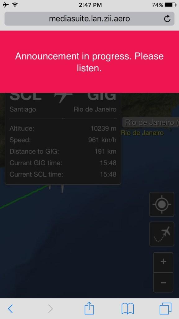 LATAM App in flight announcement