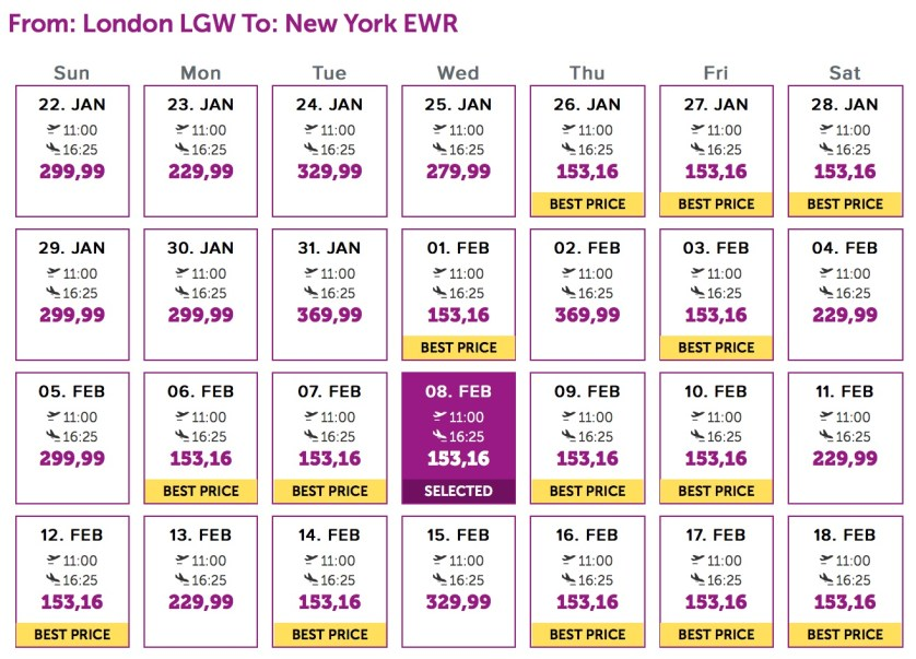 Wow flights From London, January/February