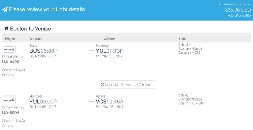 United/Air Canada to Venice