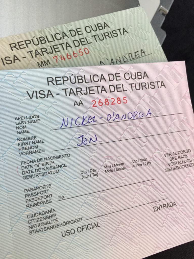 Green and Pink Cuban Visas