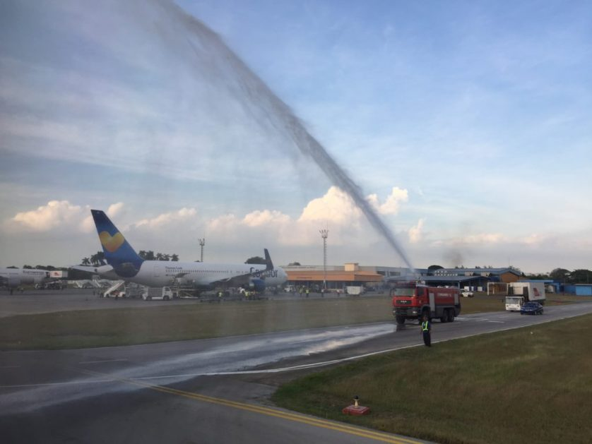 Welcome to Cuba! Water Cannon Salute. Alaska Airlines to Havana