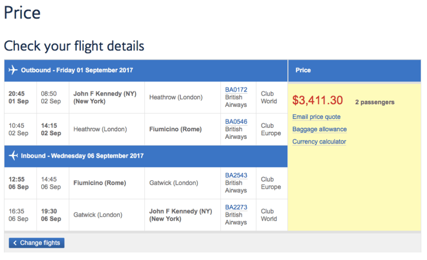 British Airways Business Class Sale
