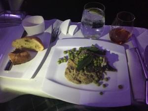 Barramundi filet with baba ganoush, peas, lemon and mint.