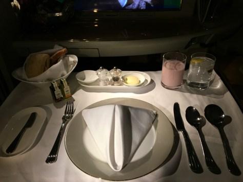Emirates Breakfast place setting