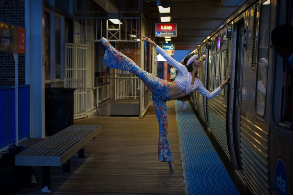 Katherine Alvarado Dancer bellbottoms holding Chicago CTA Train Pilsen Pink Line