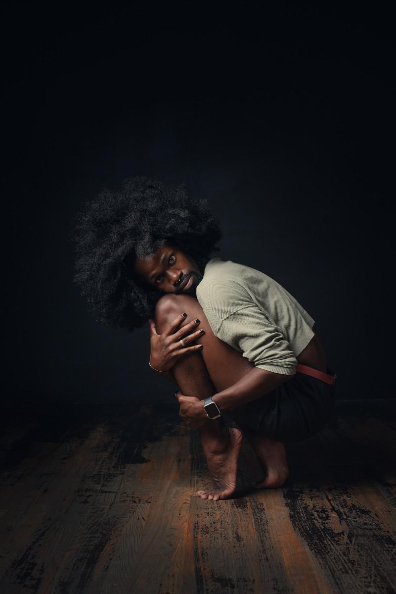 Otis Flexcii Sundarii Studio shoot on his toes portrait