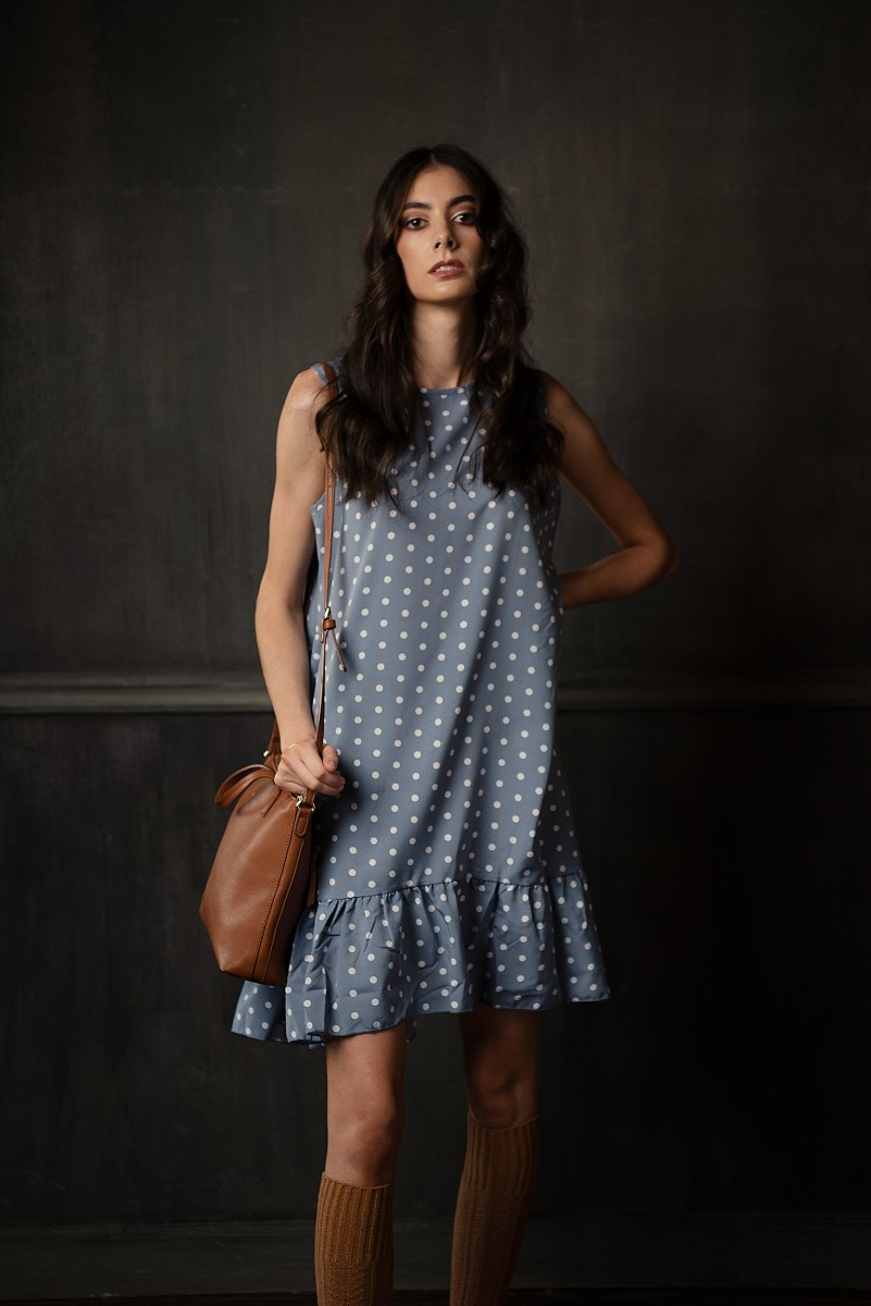 Penelope Bauer 10mgmt fashion editorial baby doll polka dot dress and brown satchel