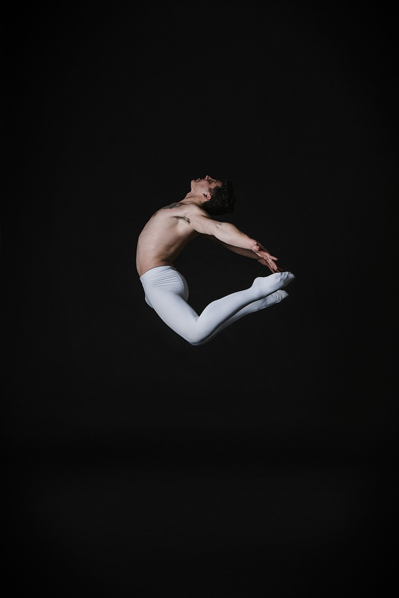 TJ Wiencek ballet dancer jump touching toes